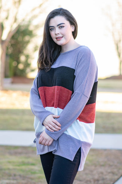 sweater, long sleeve, purple, black, red, white, colorblock, comfy, fall, winter