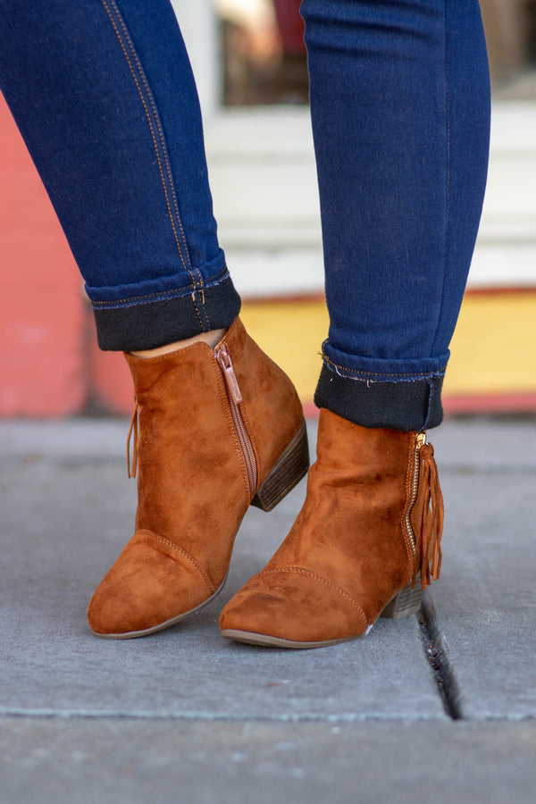 What If I Fall Booties, Tan