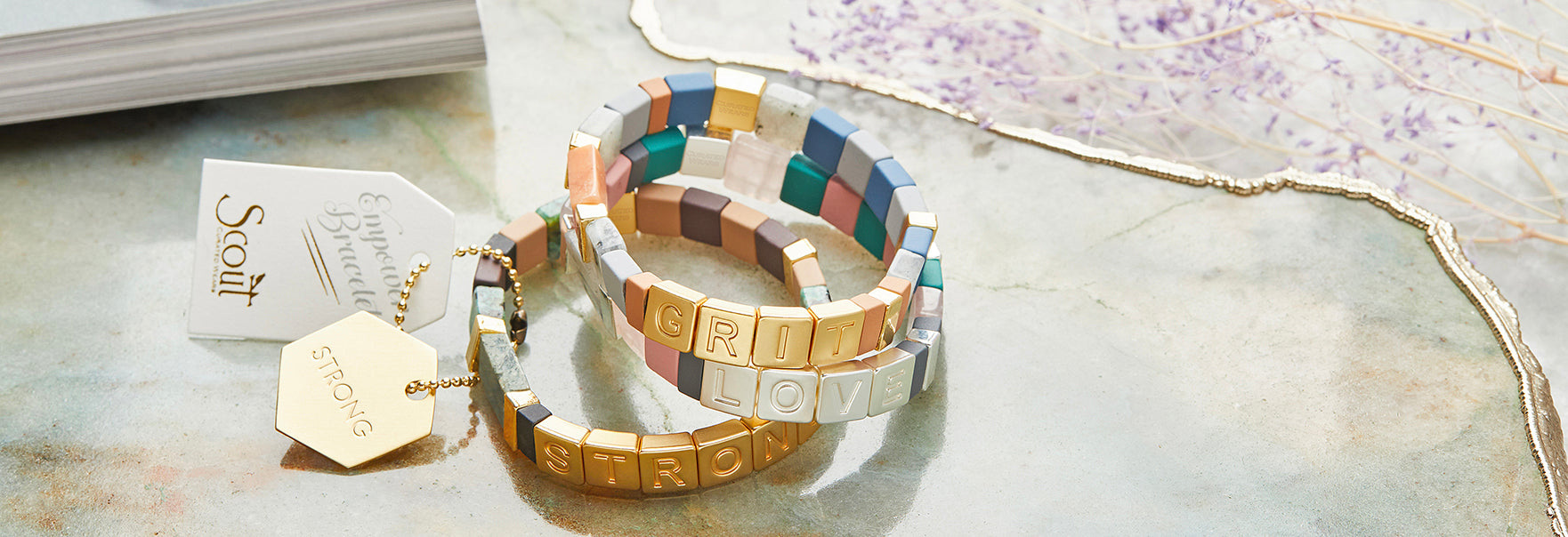 Scout Curated Wears Empower Bracelet Tile Beads Stacking Semiprecious Stone Semi Precious