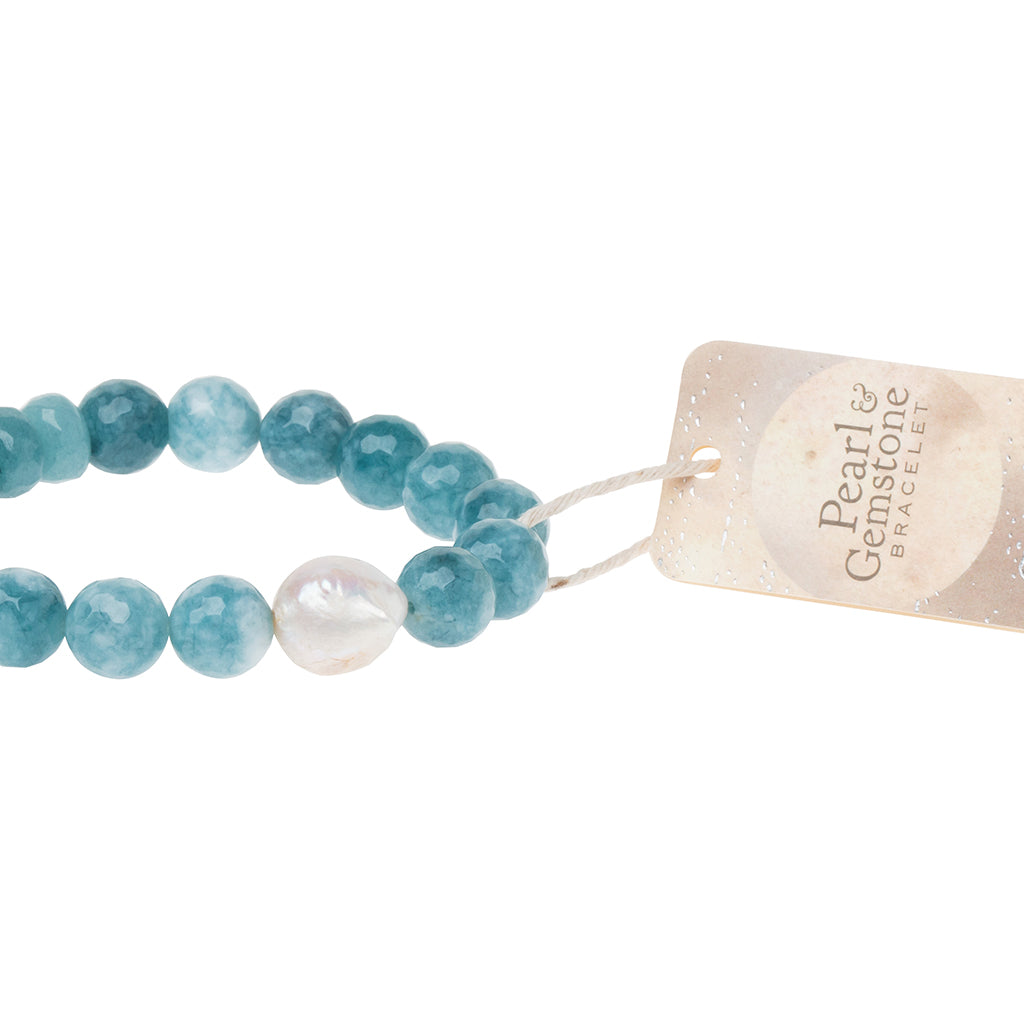 Pearl & Gemstone Bracelet - Sea Blue Agate