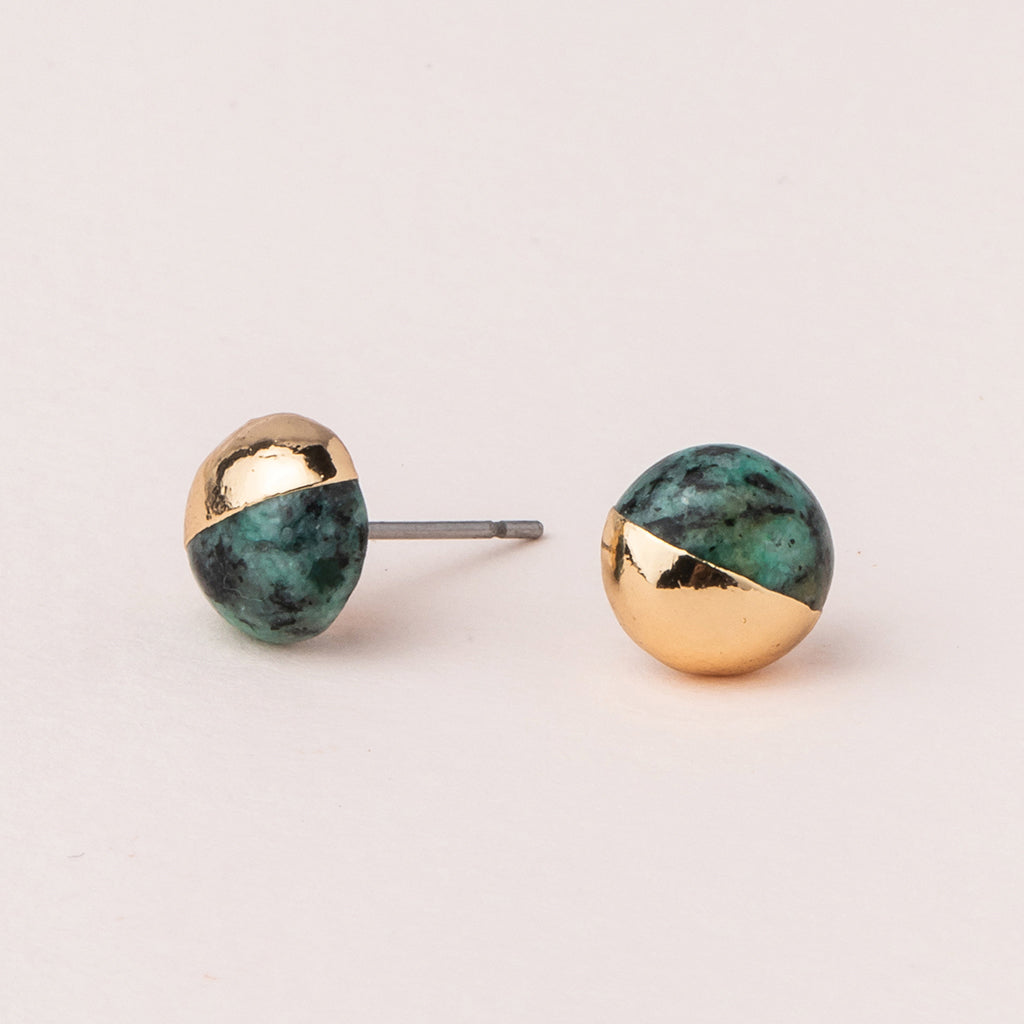 Dipped Stone Stud - African Turquoise/Gold