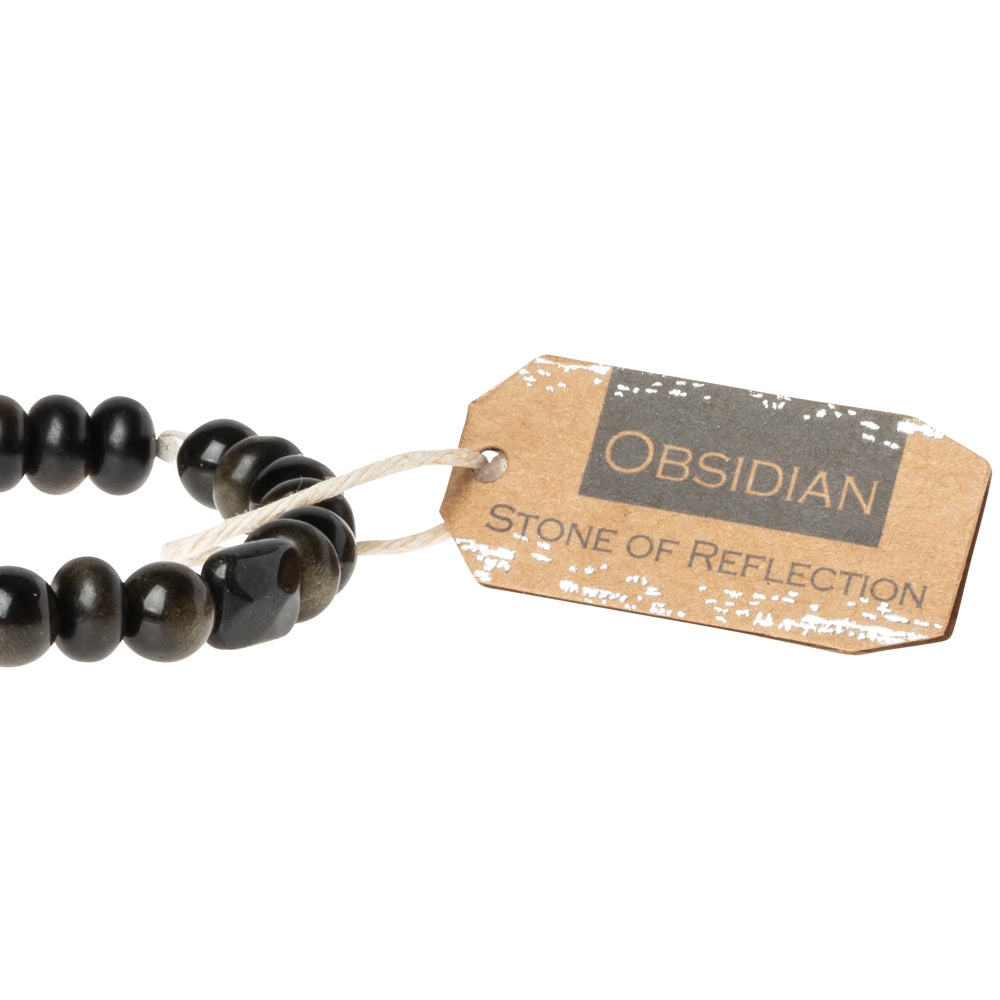Obsidian Stone Bracelet - Stone of Reflection