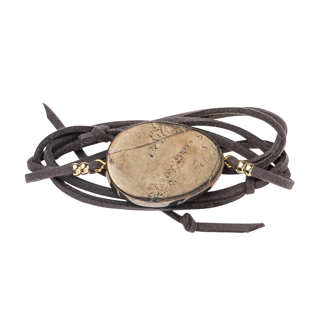 Suede/Stone Wrap - Pyrite/Gold/Stone of Positive Energy