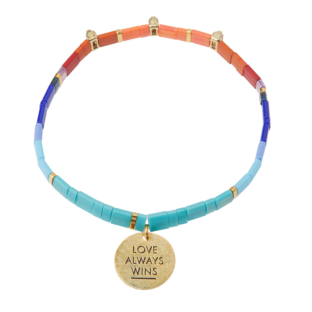 Good Karma Miyuki Charm Bracelet - Love Always Wins Multi/Sparkle/Gold