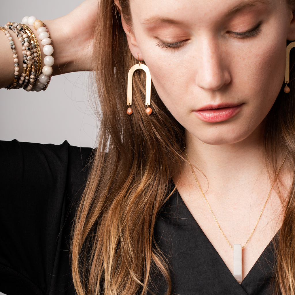 Stone Arches Earring - African Turq/Gold