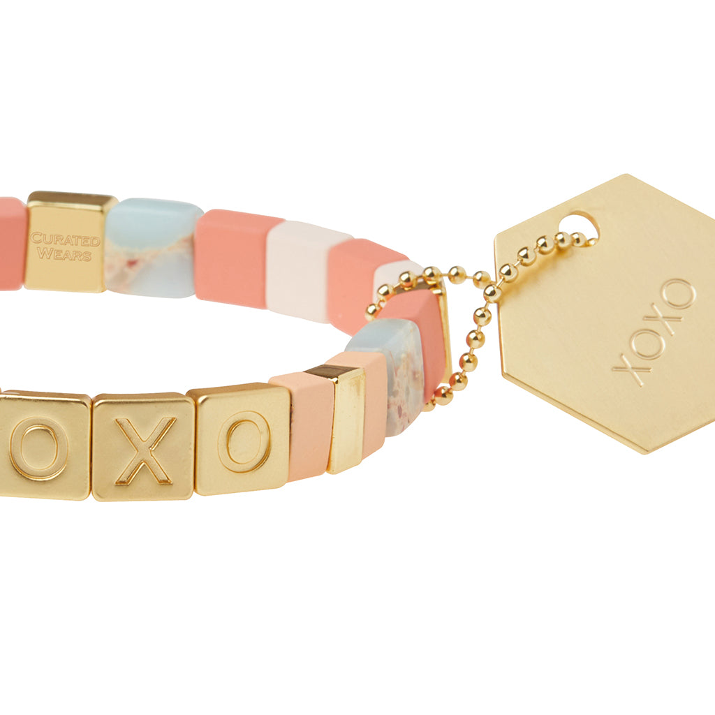 Empower Bracelet - XOXO Gold Aqua Terra/Rose Quartz