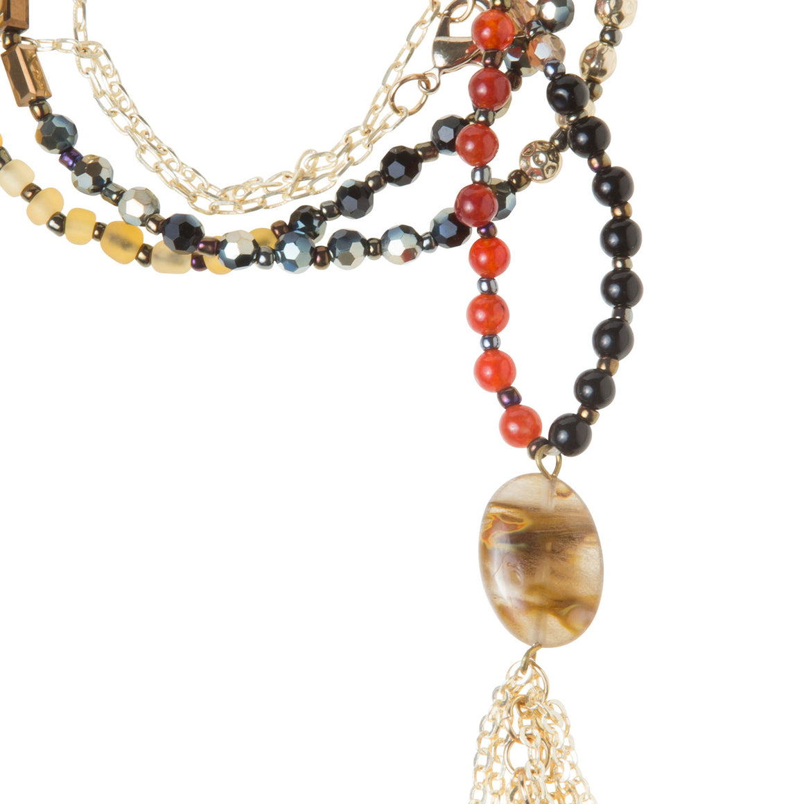 Daily Mala Necklace : currant/gold