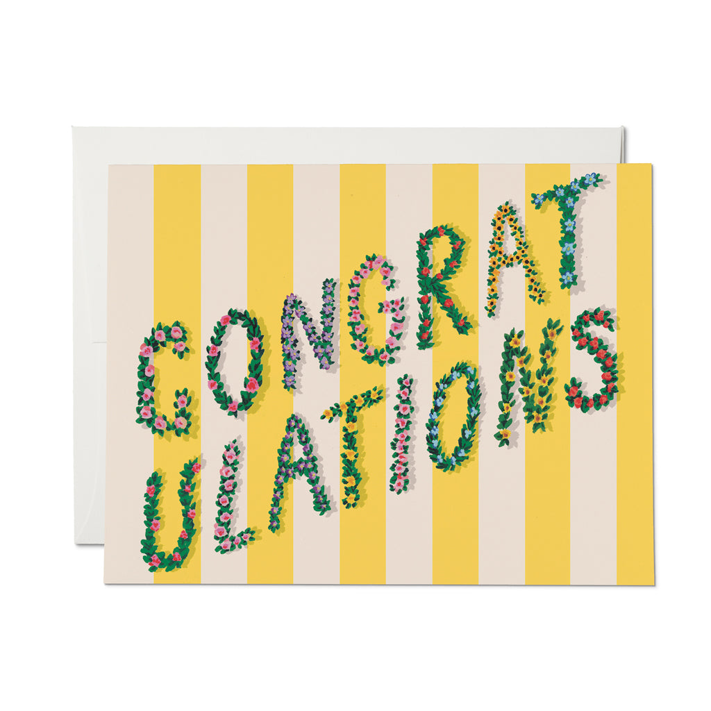 Yellow Stripes Congrats Greeting Card