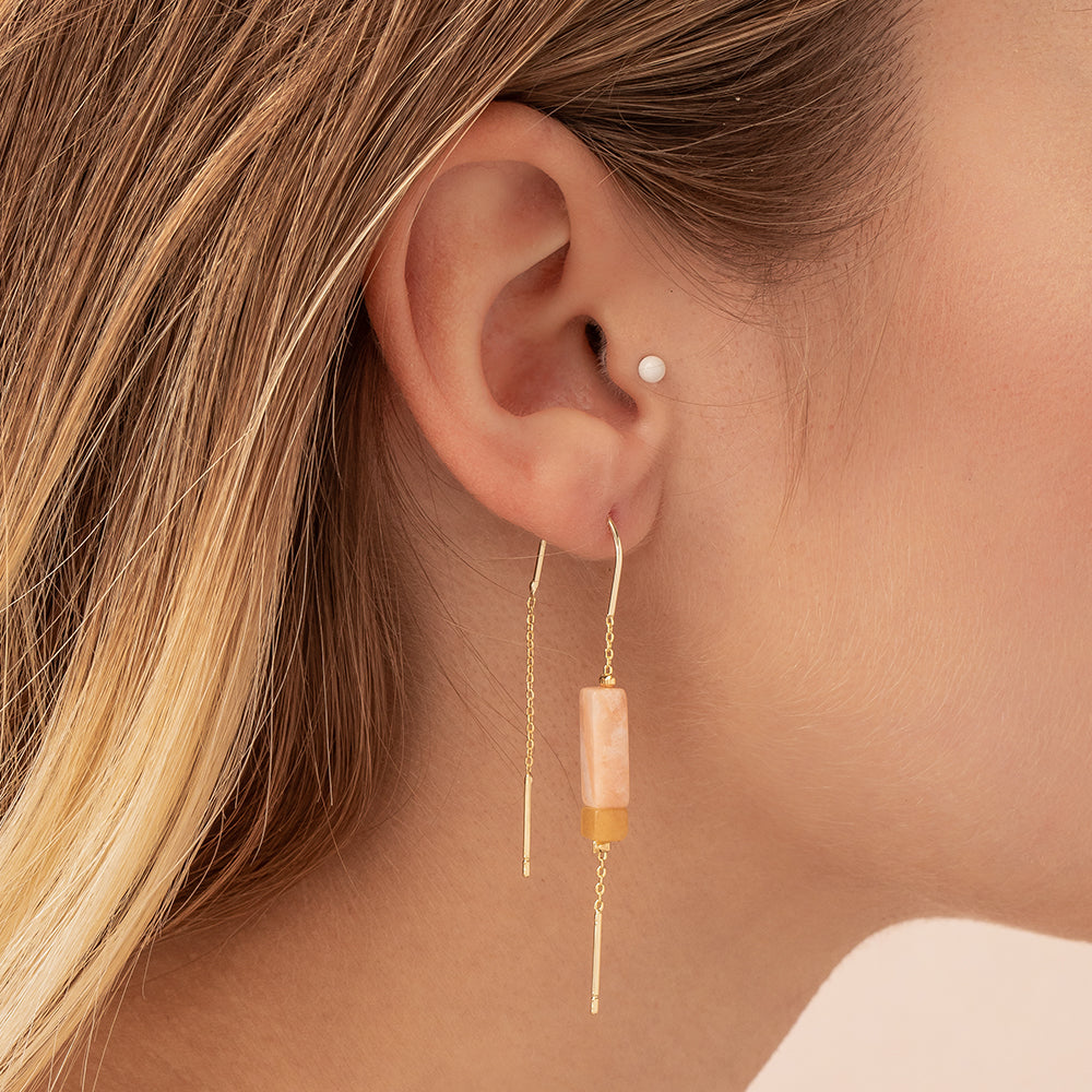 Rectangle Stone Earring - Rose Quartz/Amber/Gold