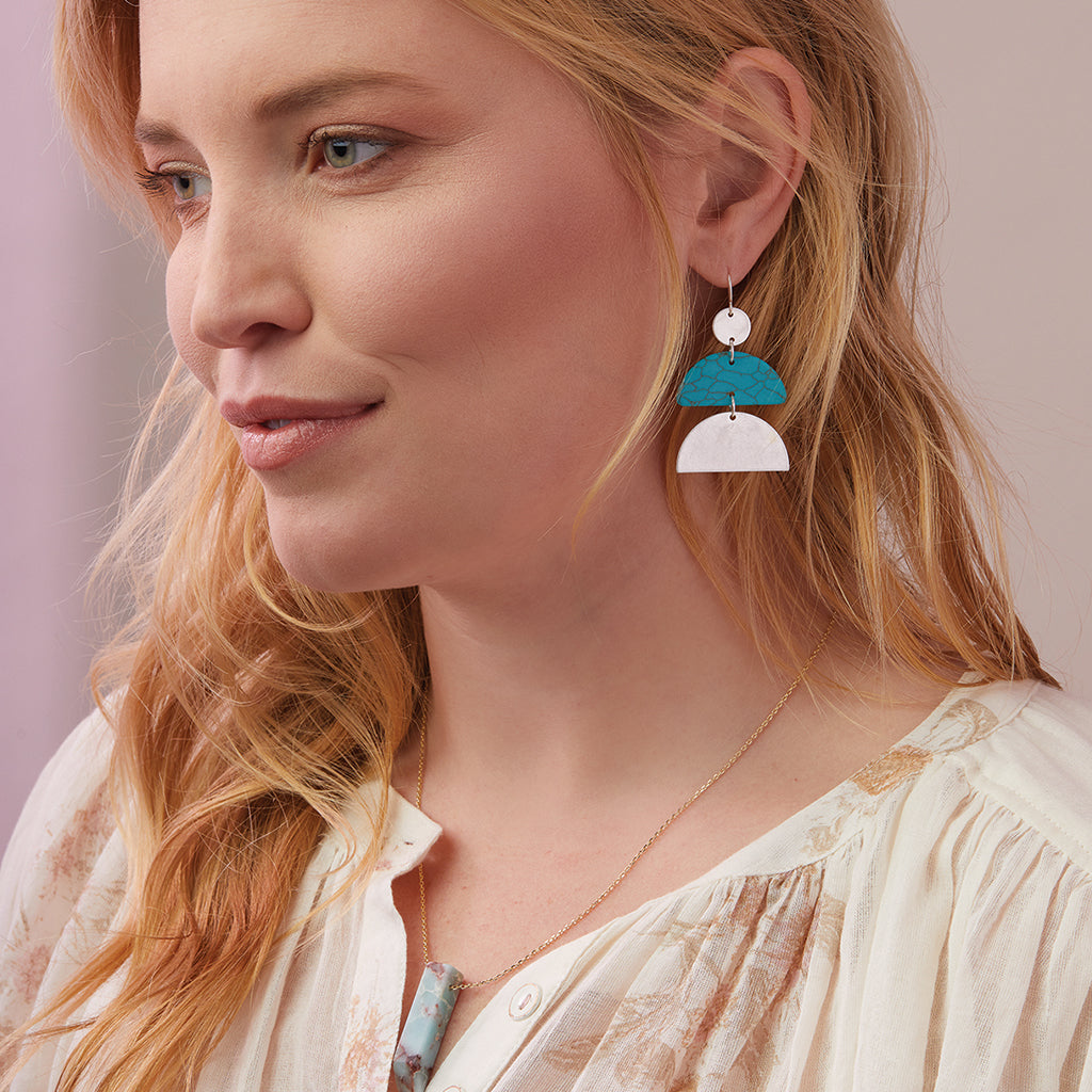 Stone Half Moon Earring - Turquoise/Silver