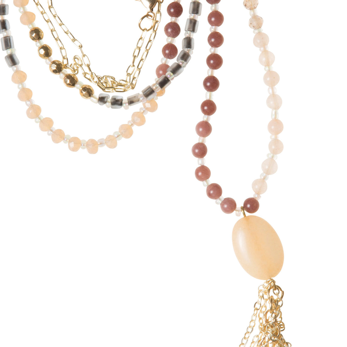 Daily Mala Necklace : mauve/gold