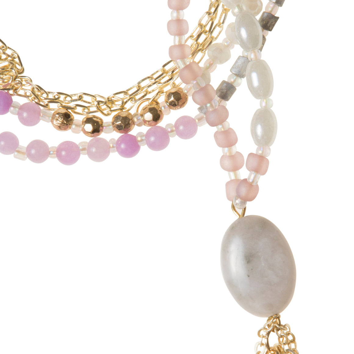 Daily Mala Necklace : lavender/gold