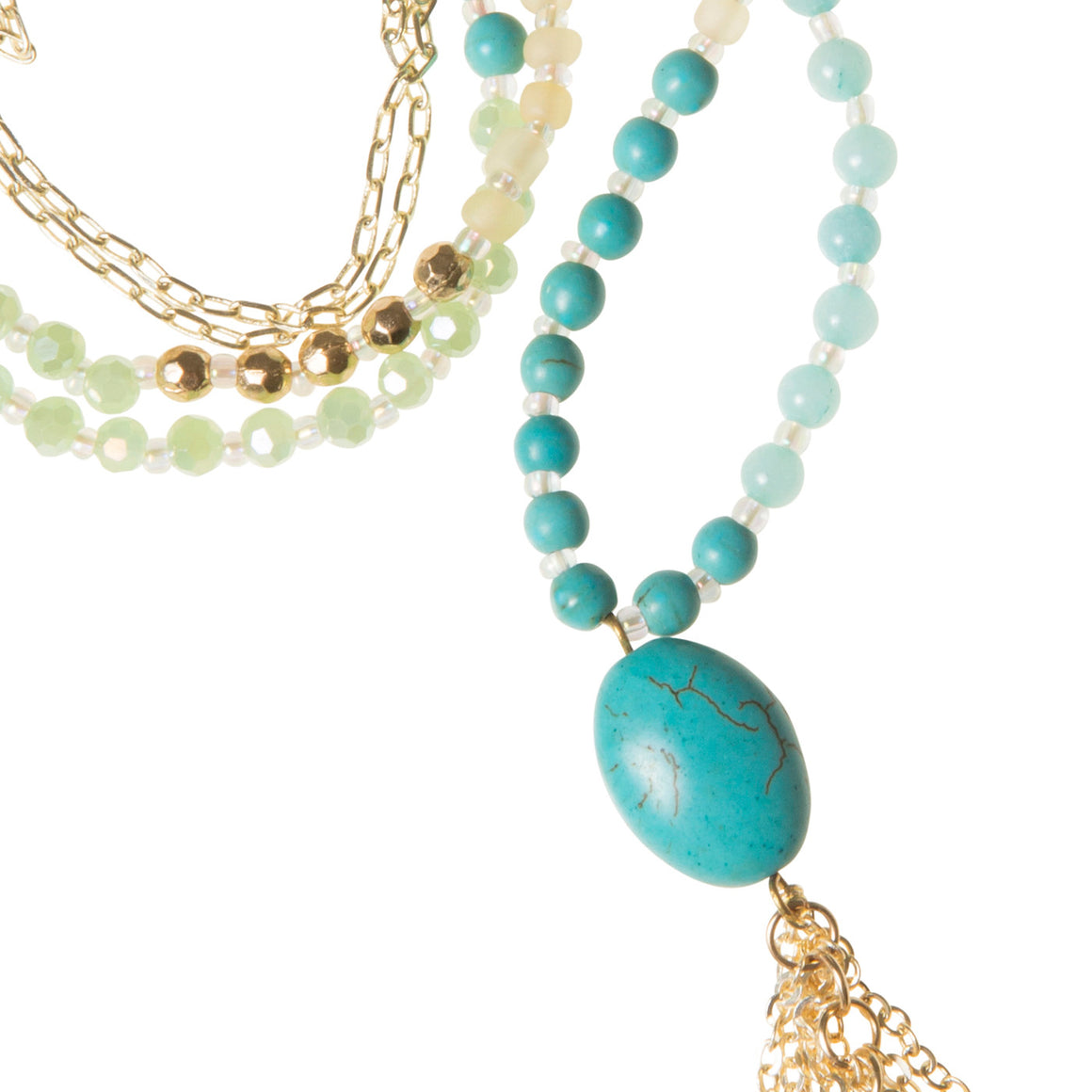 Daily Mala Necklace : turquoise/gold