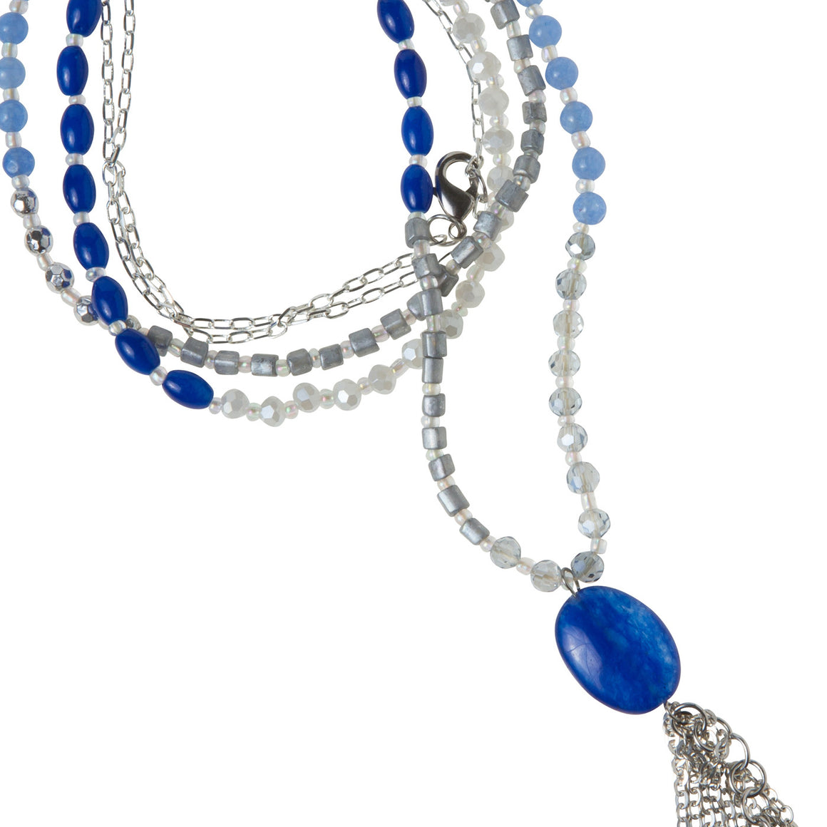 Daily Mala Necklace : cobalt/silver