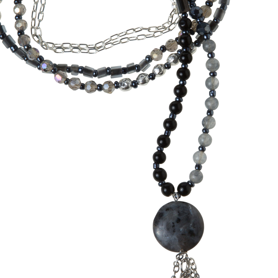 Daily Mala Necklace : black/silver