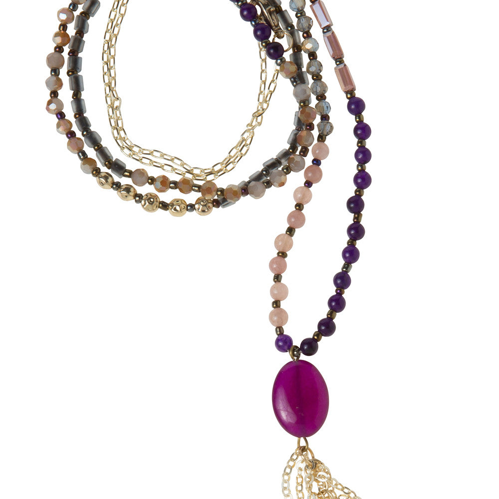 Daily Mala Necklace : plum/gold