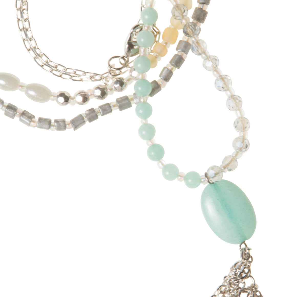 Daily Mala Necklace : seafoam/silver