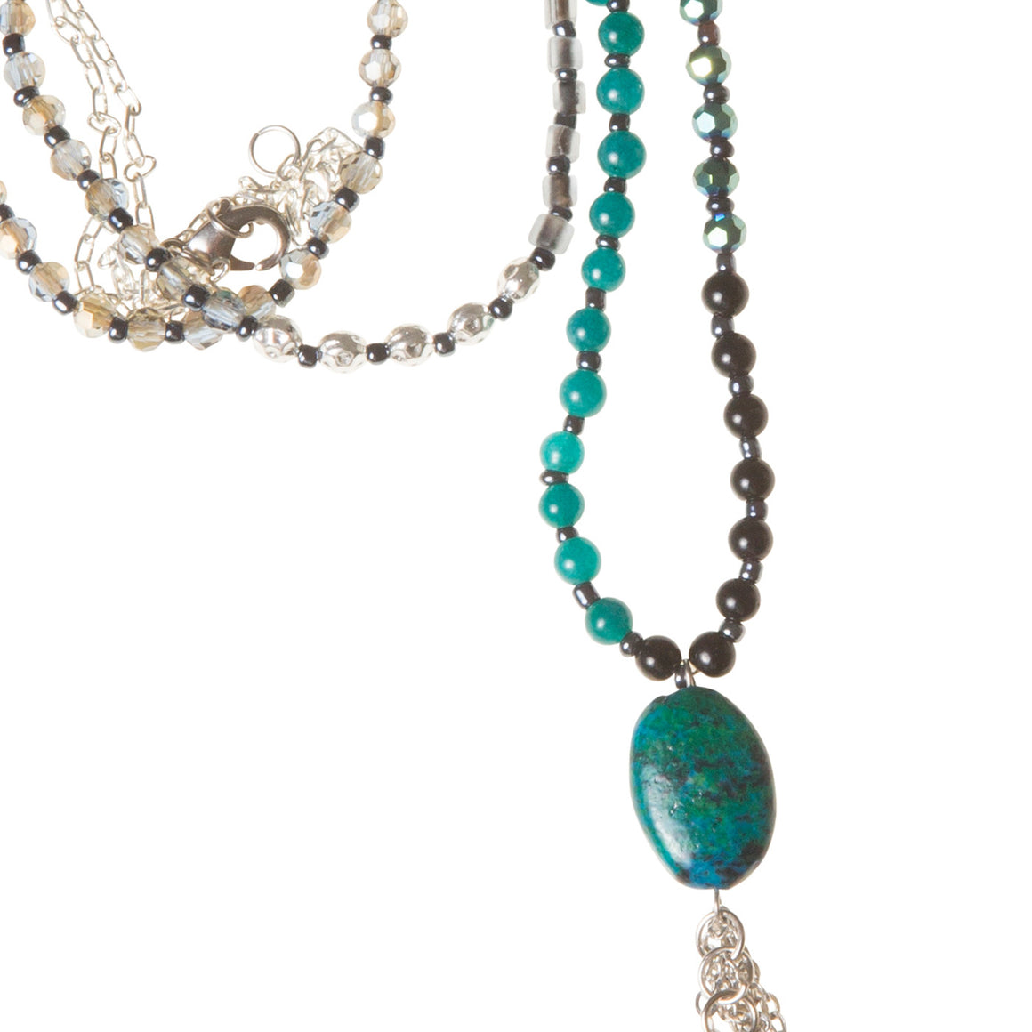 Daily Mala Necklace : peacock/silver