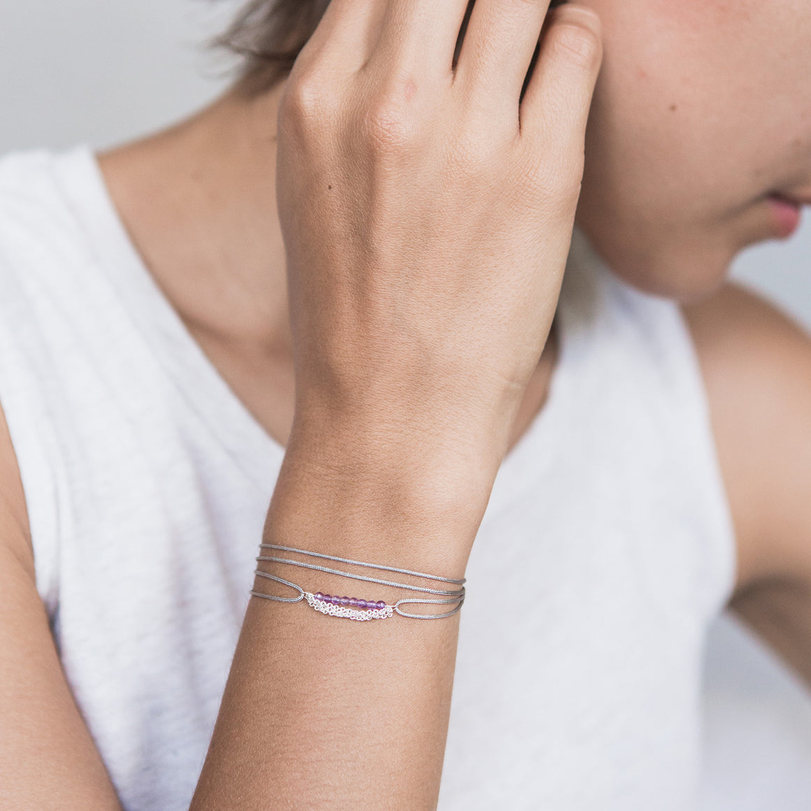 Pebble Wrap : amethyst/silver