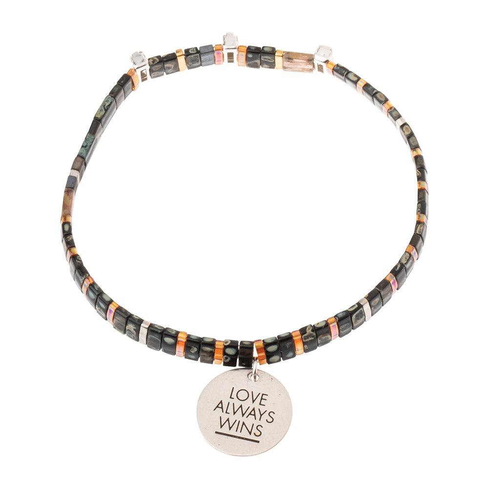 Good Karma Miyuki Charm Bracelet | Love Always Wins - Eclipse/Sparkle/Silver