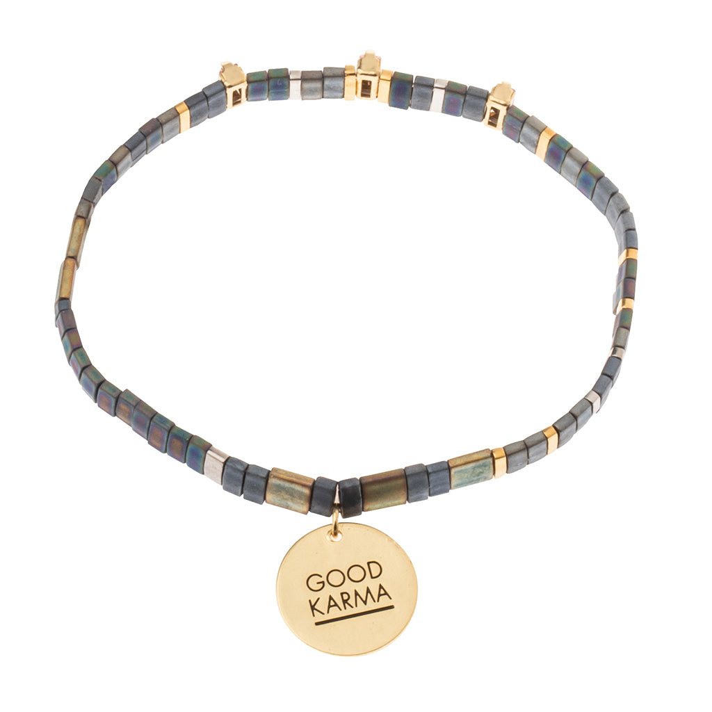 Good Karma Miyuki Charm Bracelet | Good Karma - Oil Slick/Sparkle/Gold