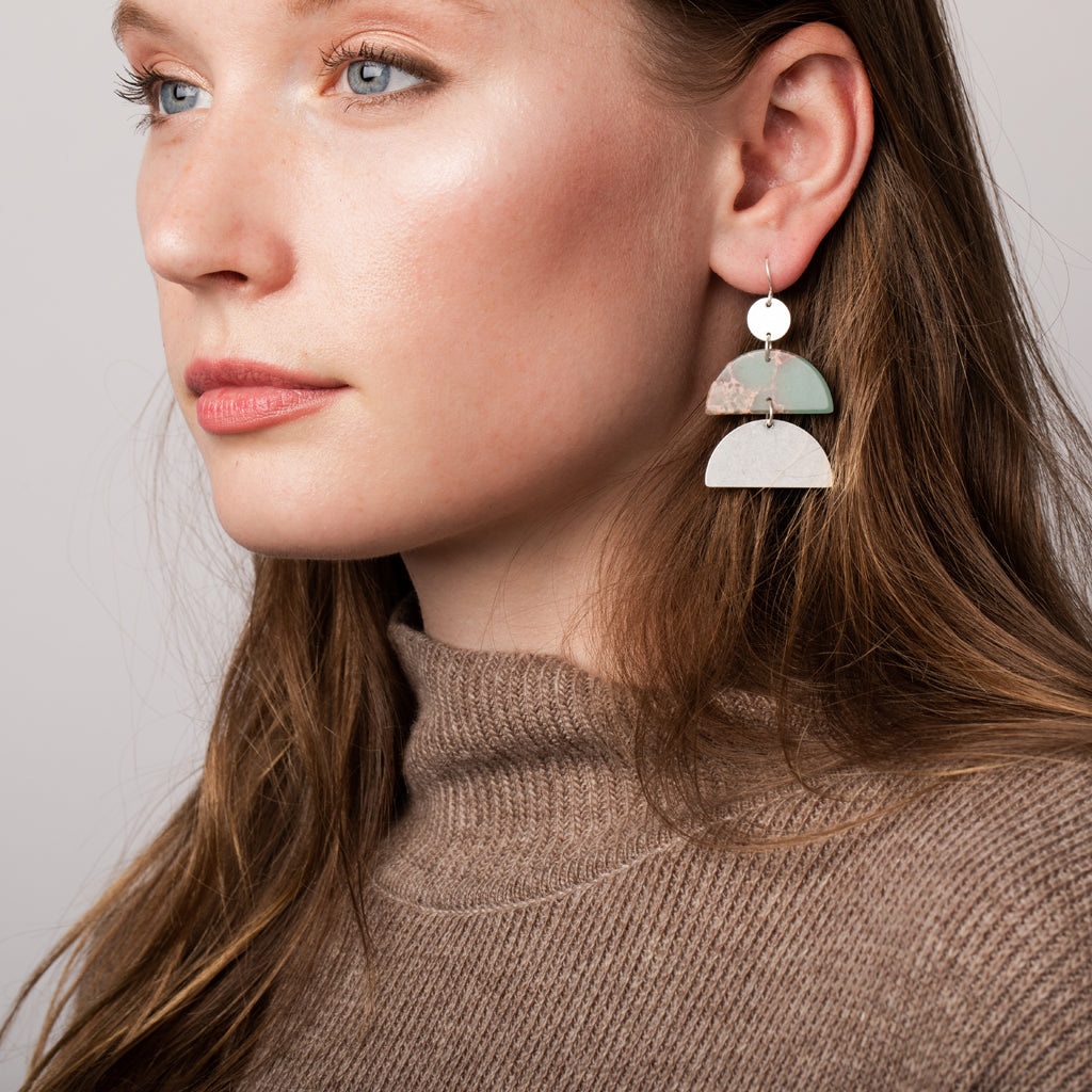 Stone Half Moon Earring - Petrified Wood/Silver