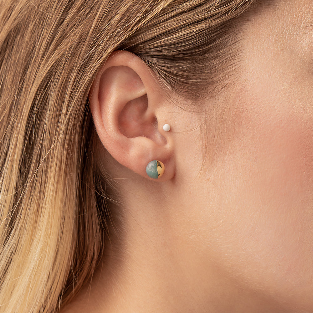 Dipped Stone Stud - Turquoise/Silver