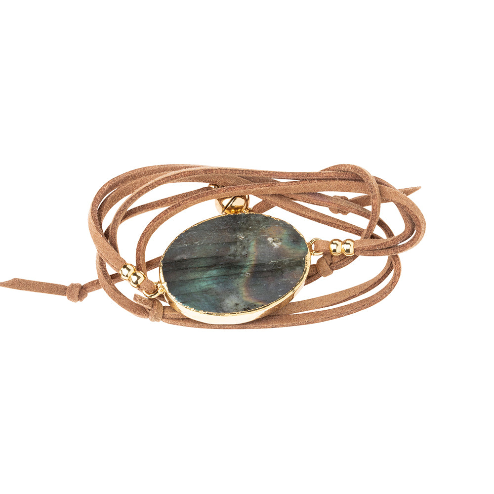 Suede/Stone Wrap - Labradorite/Gold/Stone of Magic