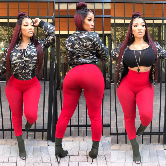 Army Fatigue/Camo Jacket With Red Highwaist Leggings and Black Tube Top