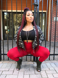 "Army Fatigue/Camo Jacket With Red Highwaist Leggings and Black Tube Top ""FULL OUTFIT"""