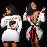 "Blind For Love White ""Gucci"" Robe Or Can Be Worn As A Dress. Built In Swarvoski Crystals On The Back"