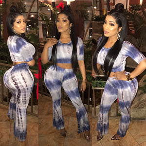 2 Piece Blue Tye Dye Set Both Top And Bottom