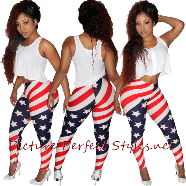 Red White Blue Leggings #1142