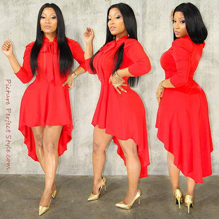 Red PePlum Dress With Bow Tie