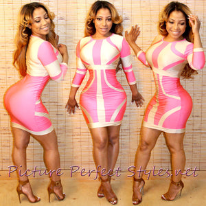 "Pink/Cream Mini Dress ""Bandage"""