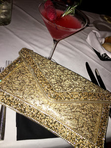 Gold Diamond Encrusted with Silver Diamonds Clutch