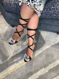 Black Swarovski Crystal Bow Tie up Heels