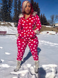 Pink and white furry hoodie onesie