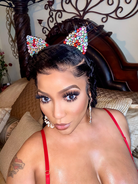 Rhinestone Cat Ears WITH Chandelier Earrings