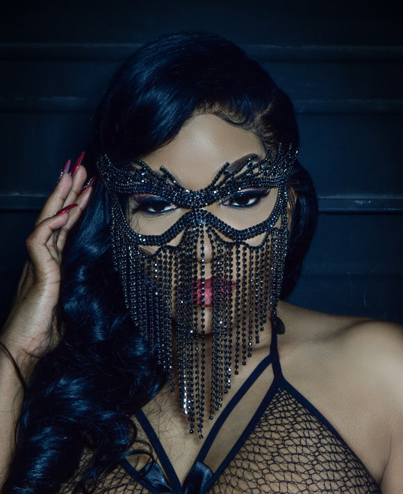 Black Swarovski Crystal Mask