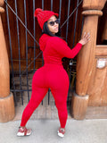 "Red 2 Piece ""work out set/track suit ""WITHOUT""!!! Swarovski Crystal Red Knitted Hat Included"""