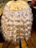 Remy Hair 613 blonde water wave 13x5 Lacefront Bob.