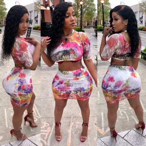 2 piece colorful mini skirt set