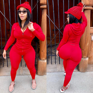 "Red 2 Piece ""work out set/track suit ""Swarovski Crystal Red Knitted Hat Included"""