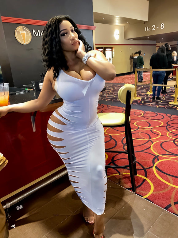 White slitted dress