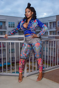Ms Colorful Blinged Out 2 piece jacket set (High  waist bottoms)