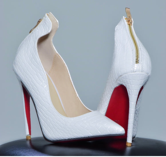 White Snake Skin Red Bottoms – Picture