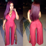 Red Bodysuit With Slits On Both Legs (sides)