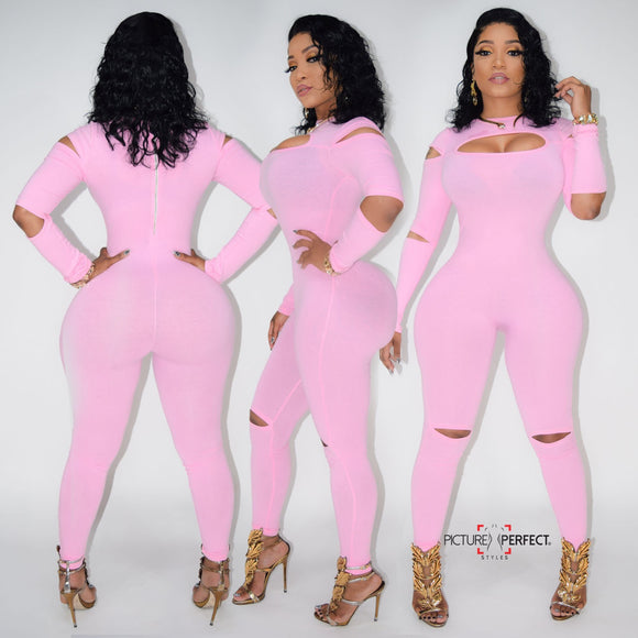 Slitted JumpSuit Pink