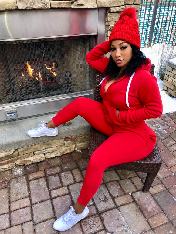 Red 2 Piece Jogger Hoodie Set